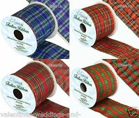 Christmas Tartan Plaid Wired Edge Ribbon 10yds Gold Blue Green Red Oaktree