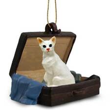 White Oriental Shorthaired Cat Traveling Companion Ornament