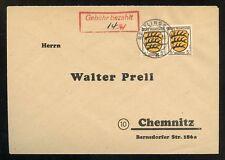 FRZ. ZONE Nr.3 PAAR GEBÜHR BEZAHLT REUTLINGEN 11.11.1946 CHEMNITZ (953979)