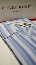 Derek Rose Blue Striped Pyjama Set (size Xxl) Elastic & Button Fastening Waist