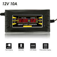 12V10A Cargador batería de coche inteligente automático completo Plomo ácido/GEL