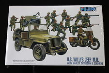 XC086 FUJIMI 1/76 maquette voiture 76015 US Willys Jeep M.B Avec Harley Davidson
