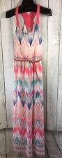 New Maurices Pink Blue Chevron Sleeveless Maxi Dress Size M Belted
