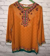 NWT Biba Tunic Blouse Floral Boho Crepe Orange Green Mixed Colors 34 Small