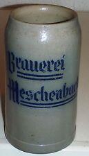 antiker 0,8 l Bierkrug, Brauerei Meschenbach,Coburg  um 1920   Steinzeug