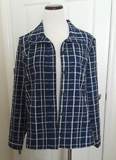 Christopher & Banks Size L Spring Jacket Blue & White Plaid, Cotton Blend NWOT