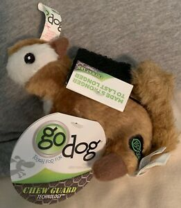 goDog Wildlife CHIPMUNK Small Plush Squeaky Dog Toy with Chew Guard NWT