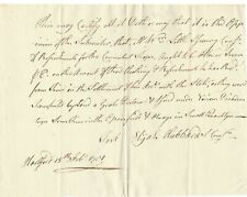Ct Patriot Commissary Certifies Payment For Revolutionary War Troop Supplies