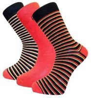 3 Pairs Mens Alexander Green Striped Bamboo Socks, Black Red Yellow, Size 7-11
