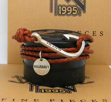 Sterling Silver Hook on Genuine Braided Leather Brown Unisex Bracelet & Necklace