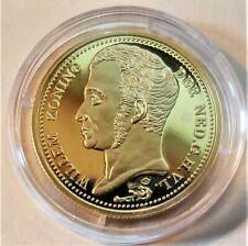 Netherlands proof restrike of 1828 10 gulden coin, 24k gold over sterling w/COA