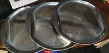 SET OF 3 LARGE HEAVY DUTY STAINLESS STEEL SERVING TRAY CATERING 49cm Dia