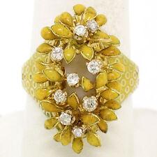 Vintage 18K Gold Diamond Yellow Enamel Mobile Flower Cluster Cocktail Ring