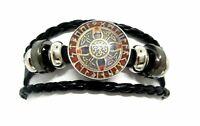 Real Leather Viking Vegvisir Rune Cross Cuff Bracelet Icelandic Odin Norse NEW