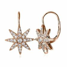 STERLING SILVER & ROSE GOLD PLATE LEVERBACK CUBIC ZIRCONIA NORTH STAR EARRINGS