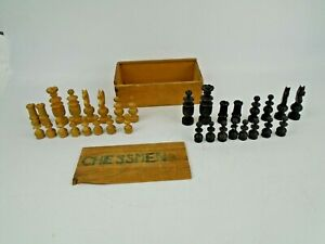 Box of Vintage Wooden Chess Pieces