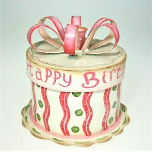 Happy Birthday Metal Gift Box Cupcake Holder Candle