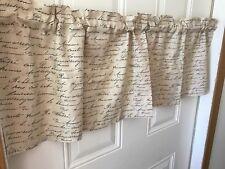 Tan Paris Script Writing Shabby Chic  Curtain Valance