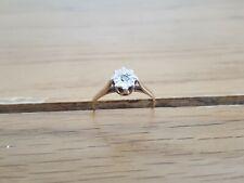 VINTAGE 9ct Oro Diamante Solitario Anello, Taglia M, gioielli d'oro