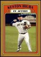 Keston Hiura 2021 Topps Heritage In Action 5x7 Gold Milwaukee Brewers /10