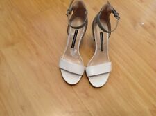 LOVELY PAIR  GREY/CREAM FRENCH CONNECTION STILETTO HEEL PARTY/RACES SHOES UK 4.5