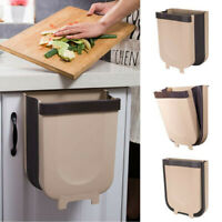 Kitchen Cabinet Door Mounted Trash Can Folding Waste Bin Rubbish Container Hang