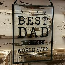 Retro Clear Glass Fathers Day Sign Best Dad Ever Gisela Graham Vintage Urban