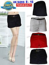 New Summer Women Ladies Hot Pants Girls Shorts With Belt Red Stone Black White