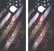 Fire Department Flag Cornhole Skin Wrap Decal Set w/ Lamination