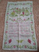 Vintage 1958 Linen Cloth Kitchen Calendar Wall Hanging Tea Towel Pioneer Theme