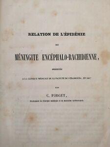 Rare Ouvrage Épidémie De Méningite 1841 Par Forget EO
