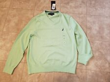 Mens-Nautica Navtech V-Neck Sweater New with Tags Light Green Size-M Orig-$69.5
