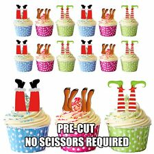 Santa Renne Lutin jambes Noël - 12 Comestible Cupcake Toppers Gâteau Décoration
