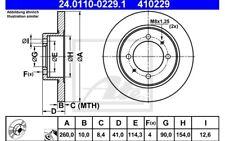 ATE Juego de 2 discos freno Trasero 260mm para VOLVO S40 MITSUBISHI