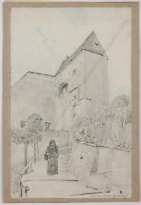 "Eduard Veith (1856-1925), ""Monastery in Klosterneuburg near Vienna"", drawing"