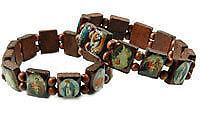 Markenlose Modeschmuck-Armbänder im Gummiarmband-Stil aus Holz