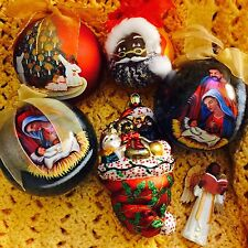 Lot Of 6 African American Black Santa Nativity Ornaments LARGE
