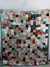 BEAUTIFUL HAND MADE MULTI-COLOR COTTON PATCHWORK QUILT 78 X 92