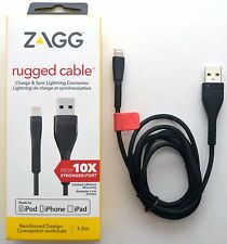 NEW Zagg Rugged Lightning USB Cable 4 Apple iPhone 7+/6S/5S iPad/Air charge/sync