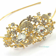 Bridal Wedding Vintage Style Gold Crystal Diamante Side Tiara Headband TH02