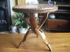 Vintage African collapsible small carved wood table