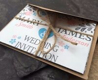 Personalised Rustic Wedding Day & Evening Invitations with envelopes