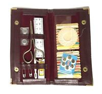 Vintage Travel Sewing Kit Red Burgundy Leather Case Checkbook New Old Stock