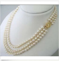 3 Rows Natural 7-8mm White Akoya Cultured Pearl Necklace 17-19''