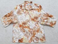 Jaclyn Smith Dress Shirt Small Floral Button Up White Beige Orange Linen Cotton