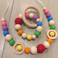 Nursing Necklace & Teether Gift Set, BPA Free Silicone, Organic Wood,Sensory