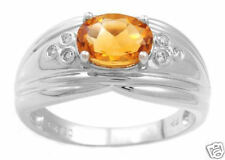 1.15ctw  Diamond & Citrine Ring Solid 18k White Gold
