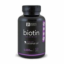 Biotin (High Potency) 5000mcg Per Veggie Softgel; Enhanced with Coconut Oil New