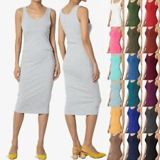 TheMogan Sleeveless Scoop Neck Stretch Jersey Bodycon Pencil Midi Tank Dress