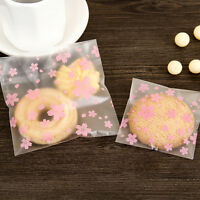 100PCS/Lot Lovely Pink Cherry Blossoms Cookie&Candy Bag Self-Adhesive Bags JH